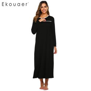 Image 3 - Ekouaer Women Maxi Nightgown Autumn Nightwear Dress O Neck Long Sleeve Solid Loose Nightdress Chemise Sleepwear