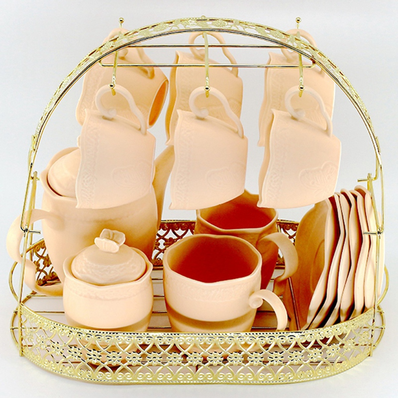 Gold Large-Capacity Storage Rack Plating Coffee Cup Hob Dish Rack Can Hang Most Cups, Saucers, Spoons And Pot Metal Stand Holder
