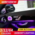 Для Mercedes GLC 300x253 панель двери центрального пандел естественного освещения атмосферу светильник ing красочные 3/12/64 цвета окружающего светильн...