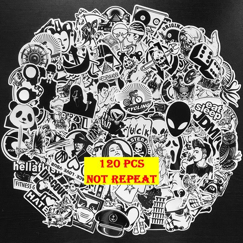 120Pcs/Pack Black And White Stickers Graffiti Punk JDM Cool Stickers For Kids Sticker On Laptop Skateboard Suitcase Bike Helmet