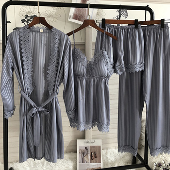Spring Summer New 4 Pcs Set Women Pajamas Lace Sexy Fashion Pyjamas - discount item  40% OFF Women's Sleep & Lounge