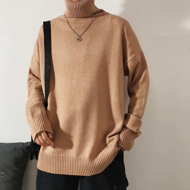 Korean Long Knitted Turtleneck Men Loose Turtleneck Men Sweater Streeetwear Red/Blue Turtleneck Sweater Men Winter 2019