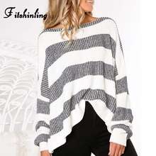 Fitshinling 2019 New Arrival Striped Ladies Sweater Pullover Knitwear Loose Long Sleeve Pull Femme Fashion Sweaters For Women long sleeves striped pullover knitwear