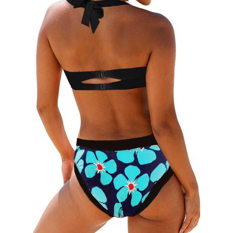 Sfit de verano las mujeres Halter recorte espalda flor Impresión de corte bajo Bikini Monokini traje de baño sujetador de dos piezas traje de baño