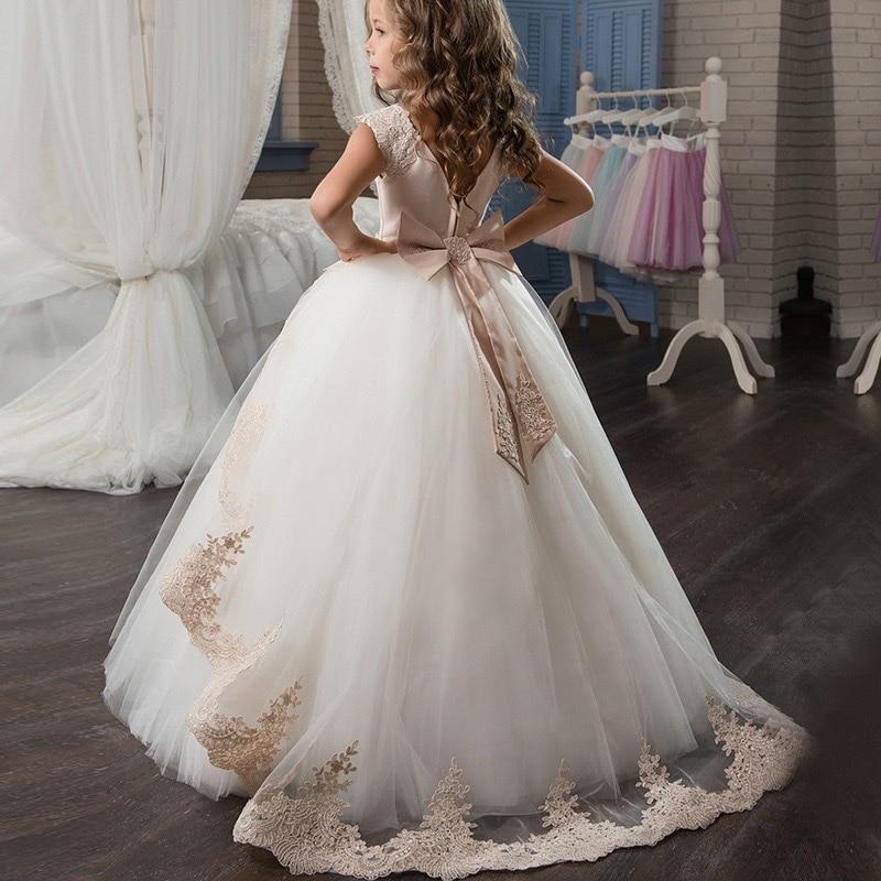 Маленькие платья для девочек, держащих букет невесты на свадьбе; платье для торжеств; платье для девочек, расшитое бисером, на день рождения; платье для первого причастия; бальное платье с длинными рукавами и лепестками - Цвет: Apricot