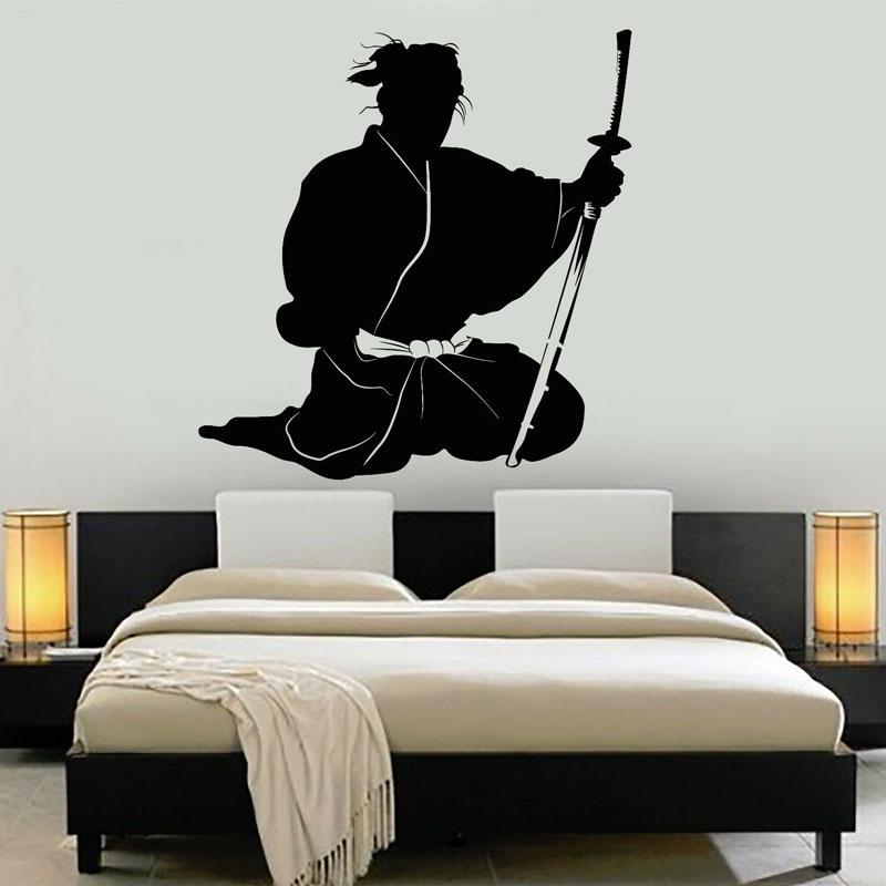 Samurai Japanese Warrior Asian Art Wall Stickers Vinyl Home Decor Room Bedroom Dorm Decals Removable Decoration Wallpaper 4122 Wall Stickers Aliexpress