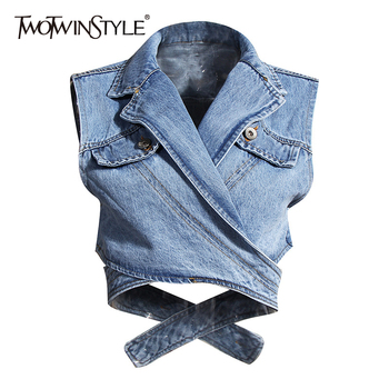 TWOTWINSTYLE Irregular Cross Denim Coat For Women High Waist Hollow Out Casual Short Tops Female 2020 Summer Fashion New Style - discount item  51% OFF Coats & Jackets