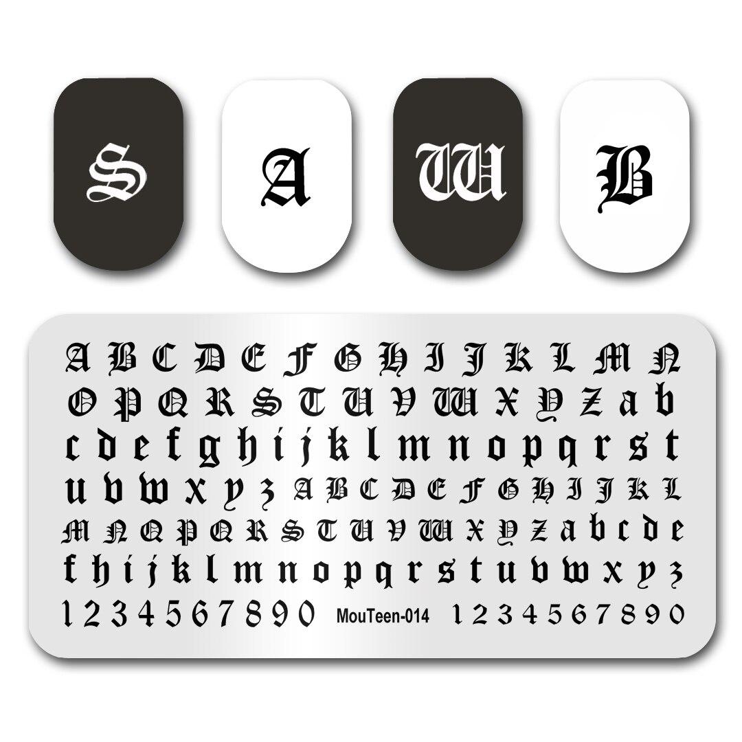 Горячее искусство ногтей штамповка для ногтей с готическими буквами, пластинами для стемпинга ногтей, набор трафаретов для маникюра