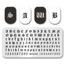 Arte do prego quente que carimba mouteen014 goth letra estilo gótico palavras prego que carimba placas manicure estêncil conjunto para o carimbo do prego