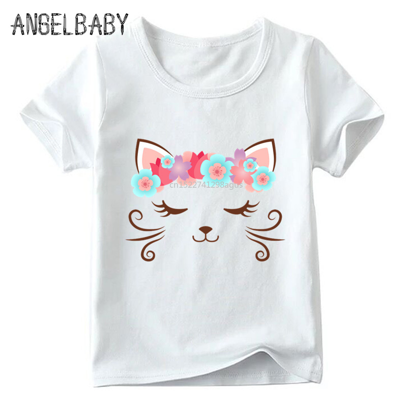 Children Cute Flower Cat Face Funny T shirt Summer Baby Boys/Girls Cartoon Tops Short Sleeve T-shirt Kids Clothes 1
