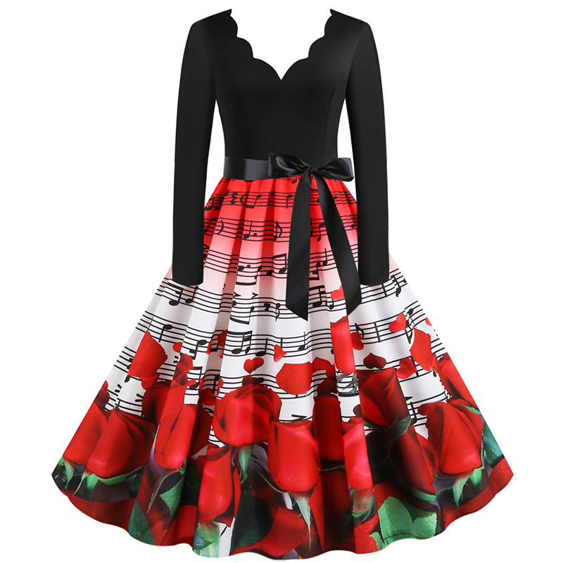 Hudobné párty šaty s dlhým rukávom (MUSIC style) notová osnova a červené ruže