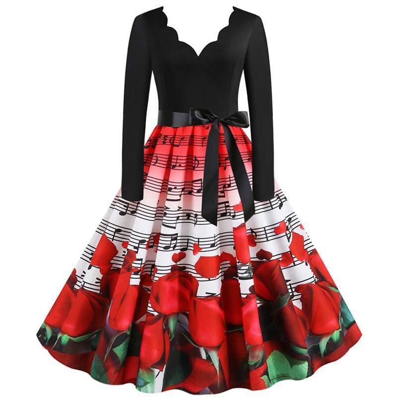 Women Long Sleeve Winter Vintage Dresses Sexy Black Music Note Print V-neck Rockabilly Pin up Party Dress Vestidos Plus size 581