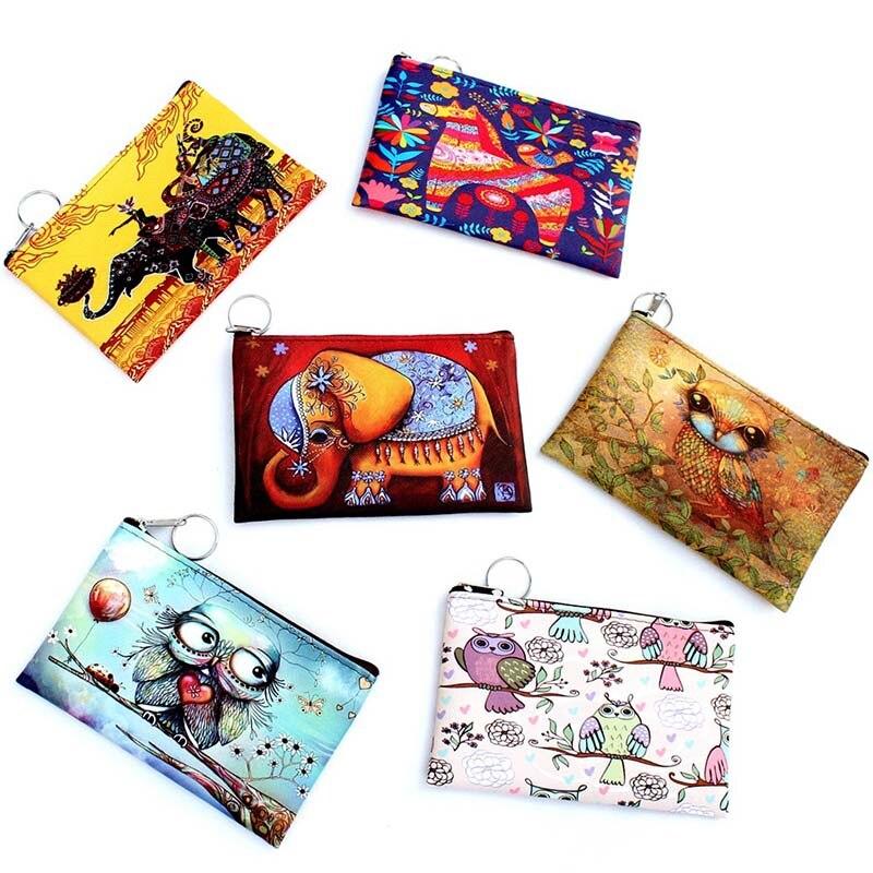 3D coin purse Owl Elephant Women cartoon zero wallet Ladies clutch change purse Female Zipper coins bag pouch