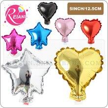 Mini 5 Polegada estrela forma do coração balões de alumínio infláveis balões de alumínio festa de aniversário do casamento chá de fraldas decoração