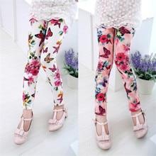 Детские леггинсы для девочек, весенне-летние детские штаны с цветочным принтом, повседневные узкие штаны для девочек, милые леггинсы для малышей