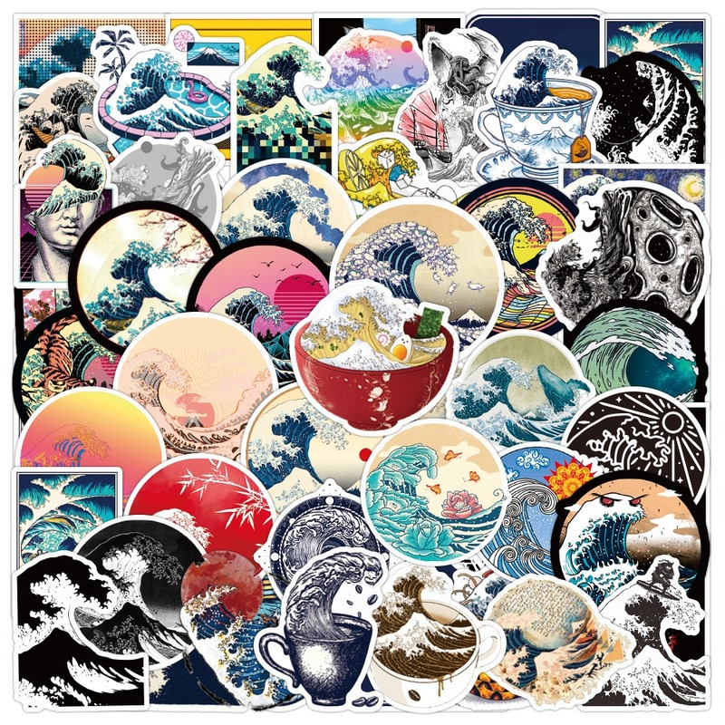 50pcs Beach Wave Graffiti Stickers Outdoor Decal Scenery Luggage Skateboard Guitar Laptop Waterproof Sticker for Kids
