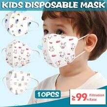 10 pces bebê máscara descartável máscara facial 0-3 anos de idade crianças dos desenhos animados 4ply orelha loop macio respirável máscaras à prova de poeira 2021