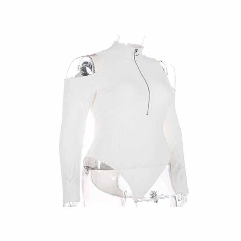 Sonbahar siyah uzun kollu Bodysuit kış 2019 zarif balıkçı yaka vücut Femme seksi straplez Hollow Out Bodycon Bodysuits #0920