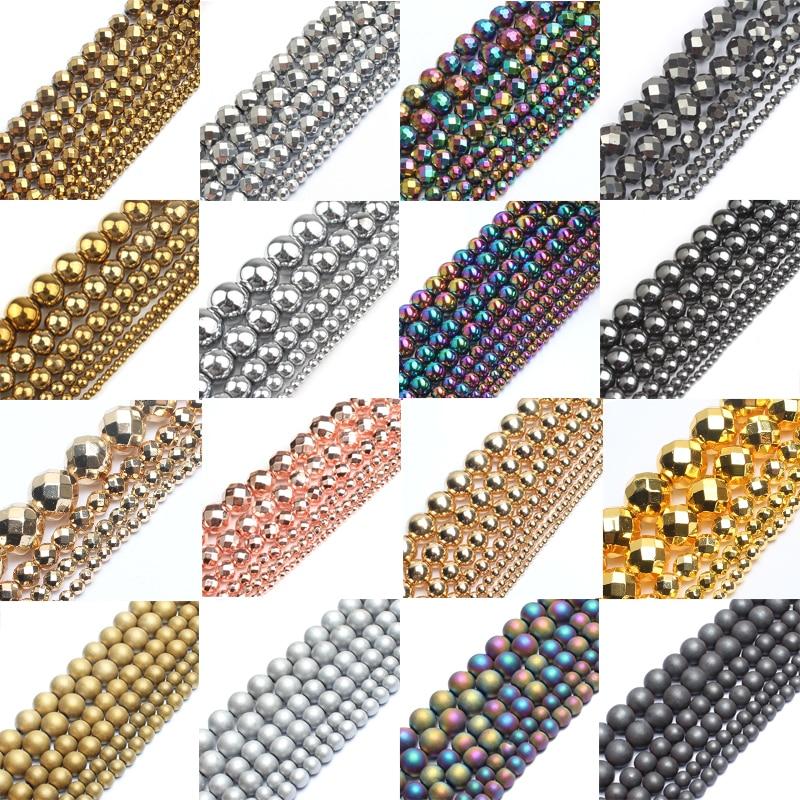 30 стиль, натуральный камень бисер золотой Радуга розовое золото серебро Цвет гематит Круглые бусины для изготовления ювелирных изделий бра...