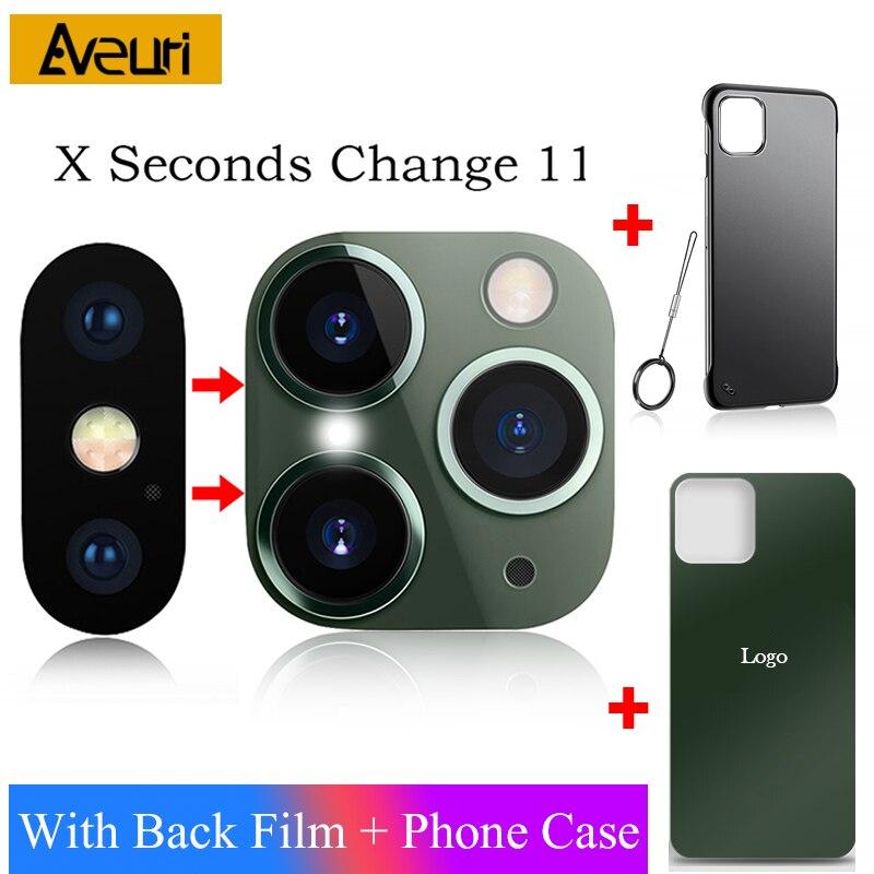 Pegatina lente de cámara segundos de cambio para iPhone X S XR XS MAX Protector de vidrio funda para iPhone 11 Pro Max pegatina Cámara falsa
