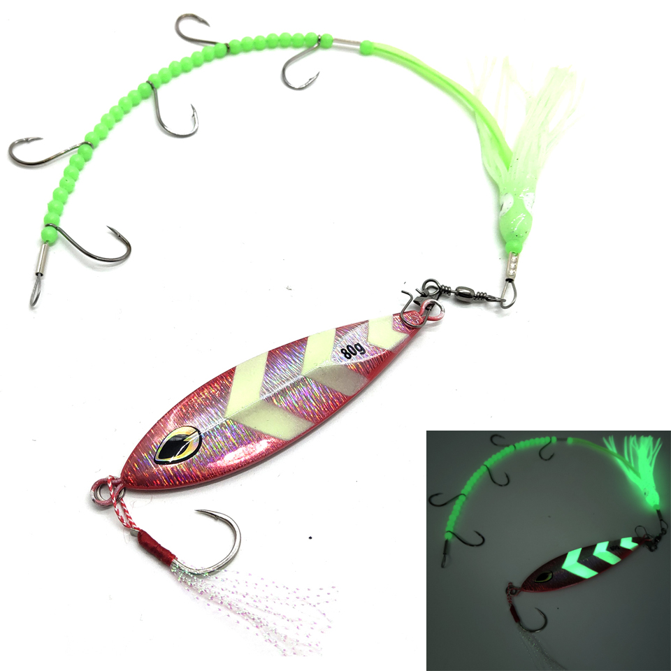 80g 100g 120g 150g luminous Artificial baits Metal slow jigging lure with hooks fishing Lure lead jig Octopus squid hook image