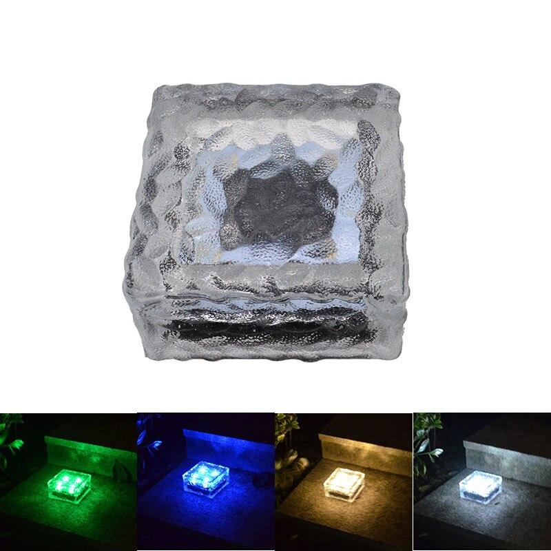 4-LED كبيرة الحجم الشمسية الآيس كريم الطوب مصباح الزجاج مصباح مخصص لتحت الأرض أضواء الطوب من ليد في الهواء الطلق الشمسية مصباح للزينة