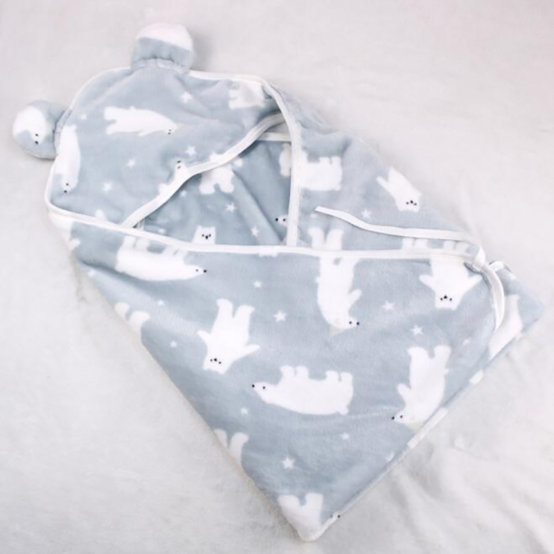Baby Blankets Infant Stroller Hooded Blankets Quilt Newborn Flannel Swaddle Swaddling  Baby Wrap Winter