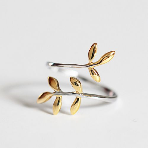 REETI 925 Sterling Silver Rings For Women Leaf gold ring Style Lady Prevent Allergy Sterling-silver-jewelry