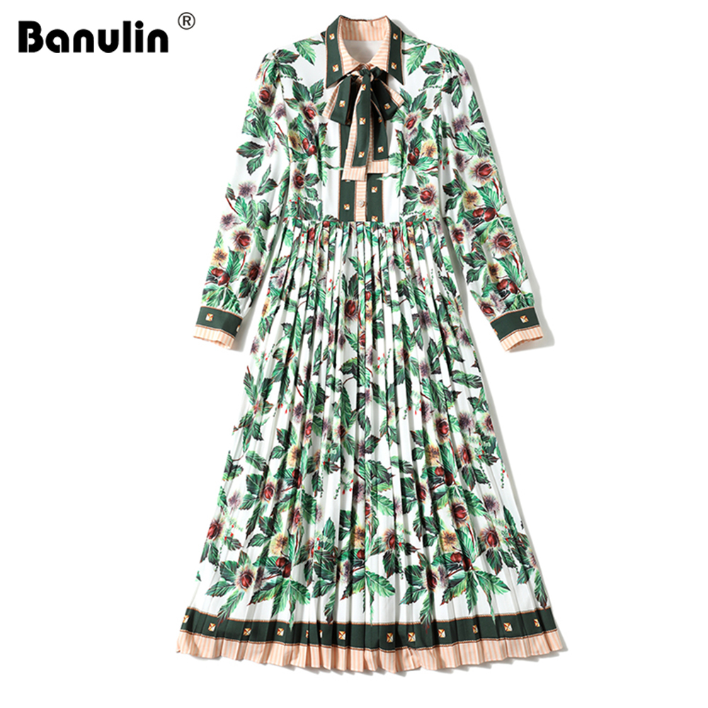 Autumn Women Runway Green Leaves Pleated Dress Women Elegant Long Sleeve Lace up Tie Floral Print Holiday Beach Dress