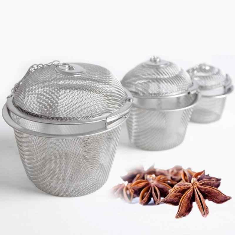 S/M/L Dapur Filter Saringan Teh Herbal Infuser Mengunci Reusable Teh Filter Bola Stainless Steel Bumbu Bola