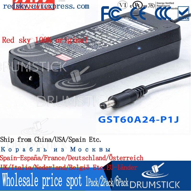 Moyenne stable bien GST60A24-P1J 24V 2.5A meanwell GST60A 60W AC-DC adaptateur industriel 3 prise économie dénergie remplacer GS