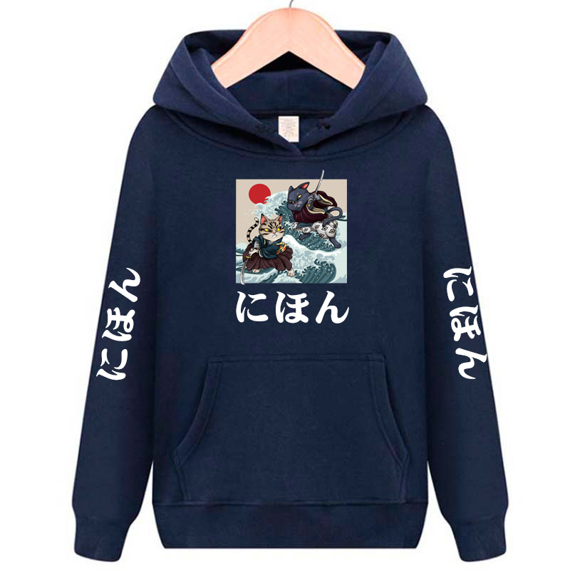 Japan Harajuku Tokyo Samurai Cat Hip Hop Street Hoodie Sweater Men's And Women's Jacket Jacket Ninja Cat Samurai Cat223