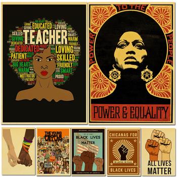Vintage Black Lives Matter plakat feminizm artystyczny obraz papier pakowy drukuje naklejka ścienna do dekoracji pokoju w domu tanie i dobre opinie lanxihaibao POSTER Wodoodporny tusz Obraz z postacią Bezramowe lustra Klasyczne 150 g of refined kraft paper classic Leaflet