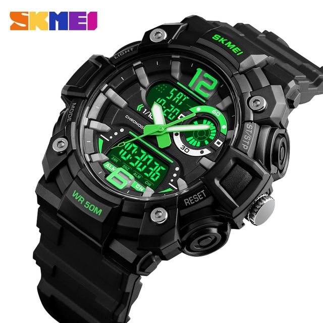 SKMEI Military Sports Watches Men Fashion Dual Display Digital Watch Waterproof Luminous Quartz Wristwatch montre homme 1529