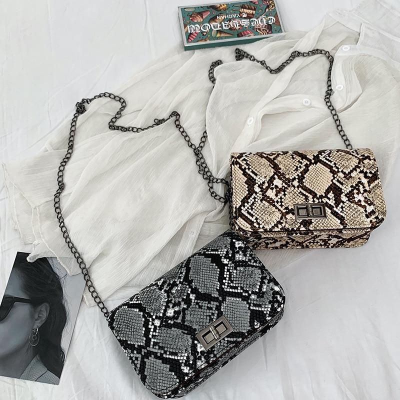 Small Snake Print Flap Shoulder Bag Female PU Leather Chain Crossbody Bags For Women 2019 Luxury Handbags Women Bags Designer
