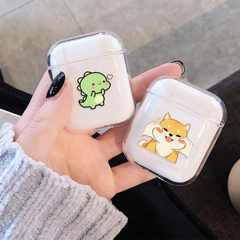 For Airpods Case Cute Cartoon Cat Dinosaur Hard Wireless Bluetooth Earphone Case For Apple Airpods 2 1 Protective Cover Box for apple airpods case protective cover bluetooth wireless earphone case charging box transparent glossy hard case lovely