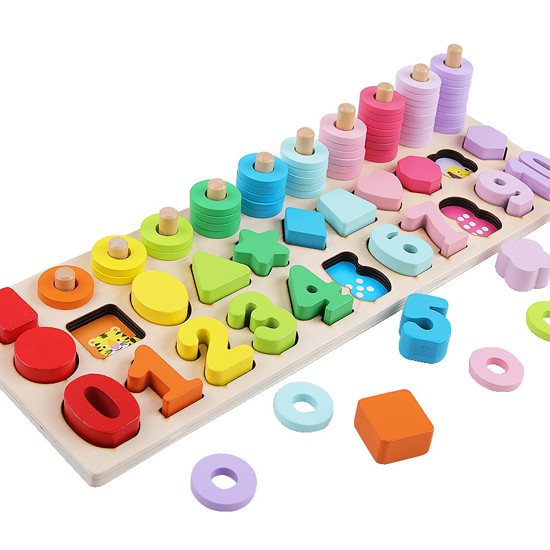 With Numbers Shape Matching Board Numbers Board Children Intelligence Early Education 1-2-3-4-a Year Of Age Baby Educational Woo