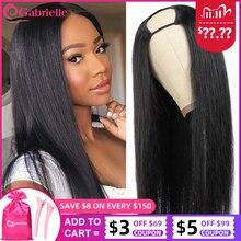 Gabrielle cabelo brasileiro em linha reta u parte peruca grampo em 30 polegada glueless peruca do cabelo humano 150% densidade remy cabelo