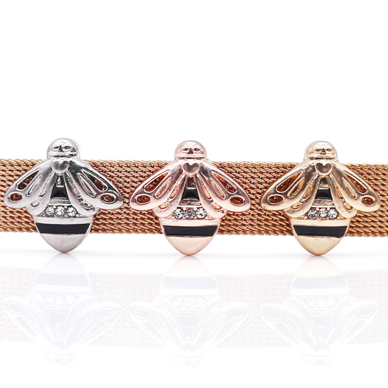 2 шт серебро розовое золото ракета Медведь Сердце Бусины Шарм Подходит 10 мм Нержавеющая сталь сетка браслет часы браслет в виде ремня из бисера