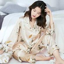 Женский пижамный комплект из 100% натурального шелка 2021 ночная