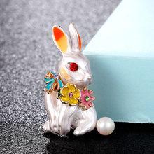 Zlxgirl cute Carton White Enamel Rabbit animal brooch bouquet women's Hijab Pins Gift For Women Kid Bag Clothes accessory(China)