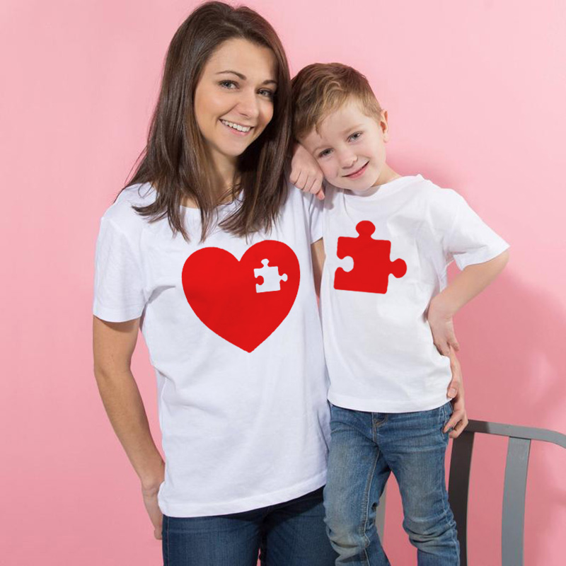 Mother Daughter Son Matching Heart Top Long Sleeve T-shirt Family Clothes Outfit