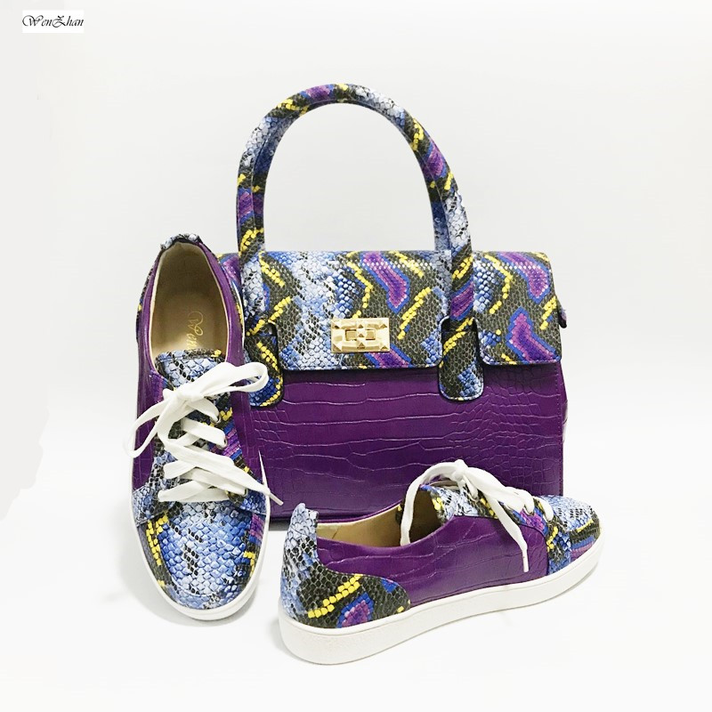 Women Handbag Match Lower-top sneakers Charming Purple Snake Pattern Soft Shoes With Bag Custom Heel Accept! A27-2
