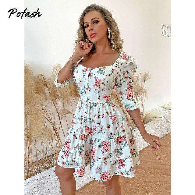 Pofash 2021 Floral Print Mini Dresses For Women Half Sleeves Patchwork Button Summer Dress Backless Ruffle Hemline Sexy Vestidos 1