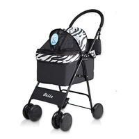 Pet Stroller Dog Cat Small Animals Carrier Cage 4 Wheels Folding Flexible Easy Walk for Jogger Travel with Mesh Window