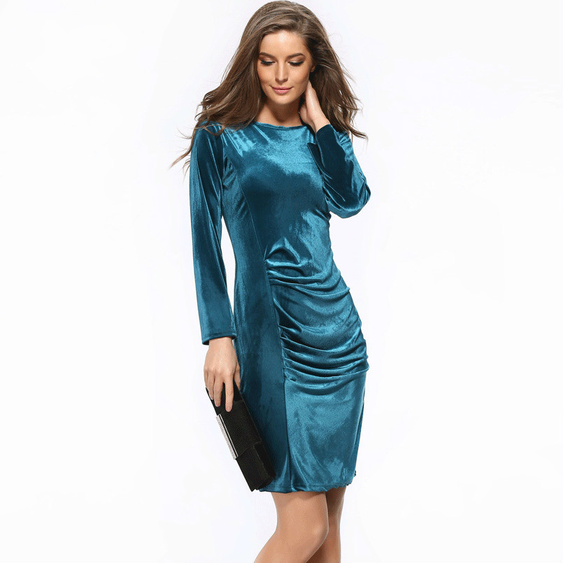 BacklakeGirls Ever Pretty Elegant Velvet Cocktail Dresses Straight Mini Round Neck Cocktail Party Dresses 2020 Women Dresses