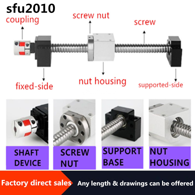 20MM Ball Screw SFU2010 End Machined+RM2010 Single Ball Nut+ BK15 BF15/fkff15/ekef15 End Support+ Coupler 12x14mm Screw 2010