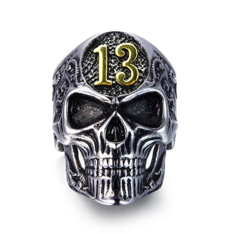 Мужское металлическое кольцо с черепом и номером 13