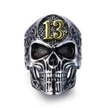 Novo exagerado crânio cabeça anel masculino horror crânio número 13 anel de metal acessórios festa jóias