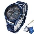 Cagarny 6820 קלאסי עיצוב קוורץ שעון גברים אופנה Mens יד שעונים כחול נירוסטה כפולה פעמים Relogio Masculino xfcs